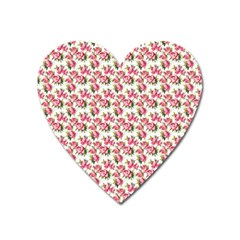 Gorgeous Pink Flower Pattern Heart Magnet by Brittlevirginclothing