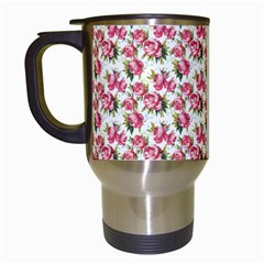Gorgeous Pink Flower Pattern Travel Mugs (white) by Brittlevirginclothing