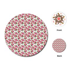 Gorgeous Pink Flower Pattern Playing Cards (round)  by Brittlevirginclothing