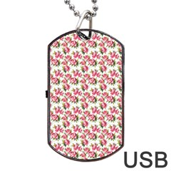Gorgeous Pink Flower Pattern Dog Tag Usb Flash (two Sides)  by Brittlevirginclothing