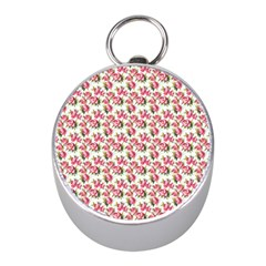 Gorgeous Pink Flower Pattern Mini Silver Compasses by Brittlevirginclothing