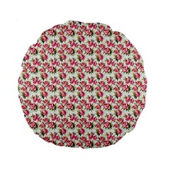 Gorgeous Pink Flower Pattern Standard 15  Premium Flano Round Cushions by Brittlevirginclothing