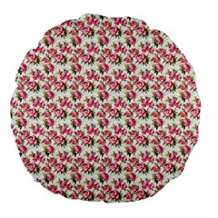Gorgeous Pink Flower Pattern Large 18  Premium Flano Round Cushions by Brittlevirginclothing