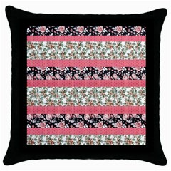 Cute Flower Pattern Throw Pillow Case (black) by Brittlevirginclothing