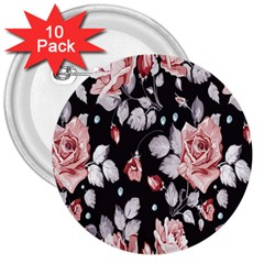 Vintage Flower 3  Buttons (10 Pack)  by Brittlevirginclothing