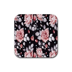 Vintage Flower Rubber Square Coaster (4 Pack)  by Brittlevirginclothing