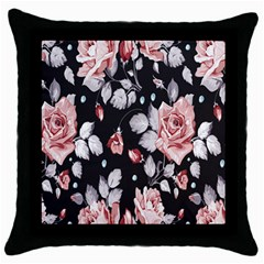 Vintage Flower Throw Pillow Case (black) by Brittlevirginclothing