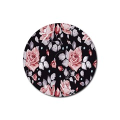 Vintage Flower Rubber Coaster (round)  by Brittlevirginclothing