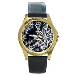 Snowflake In Feather Look, Black And White Round Gold Metal Watch by picsaspassion