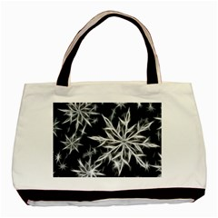 Snowflake In Feather Look, Black And White Basic Tote Bag by picsaspassion