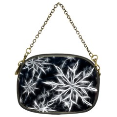 Snowflake In Feather Look, Black And White Chain Purses (two Sides)  by picsaspassion