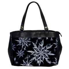 Snowflake In Feather Look, Black And White Office Handbags by picsaspassion