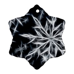 Snowflake In Feather Look, Black And White Ornament (snowflake)