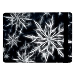 Snowflake In Feather Look, Black And White Samsung Galaxy Tab Pro 12 2  Flip Case by picsaspassion