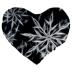 Snowflake In Feather Look, Black And White Large 19  Premium Flano Heart Shape Cushions by picsaspassion