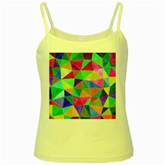 Triangles, Colorful Watercolor Art  Painting Yellow Spaghetti Tank by picsaspassion