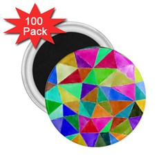 Triangles, Colorful Watercolor Art  Painting 2 25  Magnets (100 Pack)