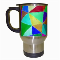 Triangles, Colorful Watercolor Art  Painting Travel Mugs (white)