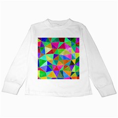 Triangles, Colorful Watercolor Art  Painting Kids Long Sleeve T Shirts by picsaspassion