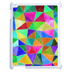 Triangles, Colorful Watercolor Art  Painting Apple Ipad 2 Case (white) by picsaspassion