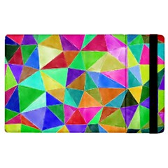 Triangles, Colorful Watercolor Art  Painting Apple Ipad 2 Flip Case by picsaspassion