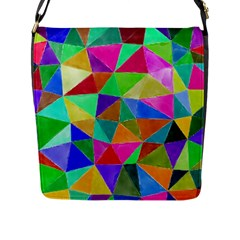 Triangles, Colorful Watercolor Art  Painting Flap Messenger Bag (l)  by picsaspassion
