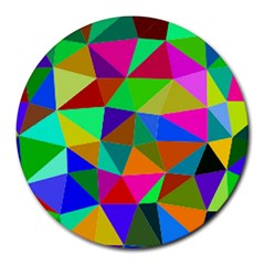 Colorful Triangles, Oil Painting Art Round Mousepads