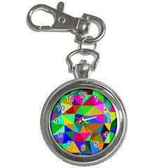Colorful Triangles, Oil Painting Art Key Chain Watches