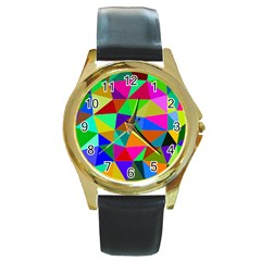 Colorful Triangles, Oil Painting Art Round Gold Metal Watch by picsaspassion