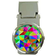 Colorful Triangles, Oil Painting Art Money Clip Watches by picsaspassion