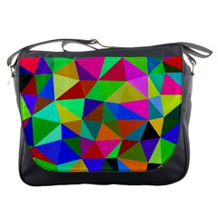 Colorful Triangles, Oil Painting Art Messenger Bags by picsaspassion