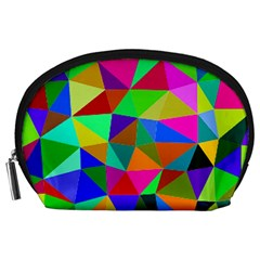 Colorful Triangles, Oil Painting Art Accessory Pouches (large)  by picsaspassion