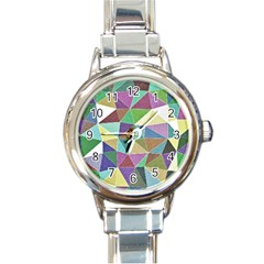 Colorful Triangles, Pencil Drawing Art Round Italian Charm Watch by picsaspassion