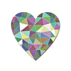 Colorful Triangles, Pencil Drawing Art Heart Magnet by picsaspassion