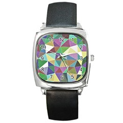 Colorful Triangles, Pencil Drawing Art Square Metal Watch by picsaspassion