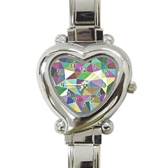 Colorful Triangles, Pencil Drawing Art Heart Italian Charm Watch by picsaspassion