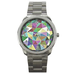 Colorful Triangles, Pencil Drawing Art Sport Metal Watch by picsaspassion