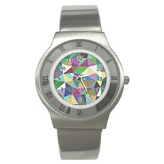 Colorful Triangles, Pencil Drawing Art Stainless Steel Watch by picsaspassion