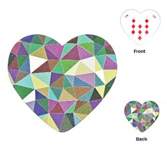 Colorful Triangles, Pencil Drawing Art Playing Cards (heart)  by picsaspassion