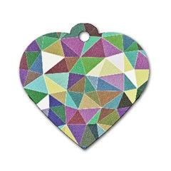 Colorful Triangles, Pencil Drawing Art Dog Tag Heart (one Side) by picsaspassion