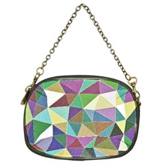 Colorful Triangles, Pencil Drawing Art Chain Purses (two Sides)  by picsaspassion