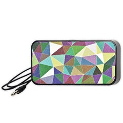 Colorful Triangles, Pencil Drawing Art Portable Speaker (black)  by picsaspassion