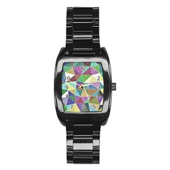 Colorful Triangles, Pencil Drawing Art Stainless Steel Barrel Watch by picsaspassion