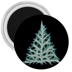 Christmas Fir, Green And Black Color 3  Magnets by picsaspassion