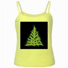 Christmas Fir, Green And Black Color Yellow Spaghetti Tank by picsaspassion