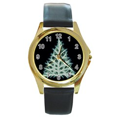 Christmas Fir, Green And Black Color Round Gold Metal Watch by picsaspassion