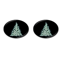 Christmas Fir, Green And Black Color Cufflinks (oval) by picsaspassion