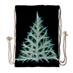 Christmas Fir, Green And Black Color Drawstring Bag (large) by picsaspassion
