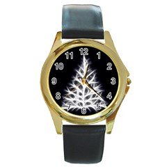 Christmas Fir, Black And White Round Gold Metal Watch by picsaspassion