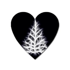 Christmas Fir, Black And White Heart Magnet by picsaspassion